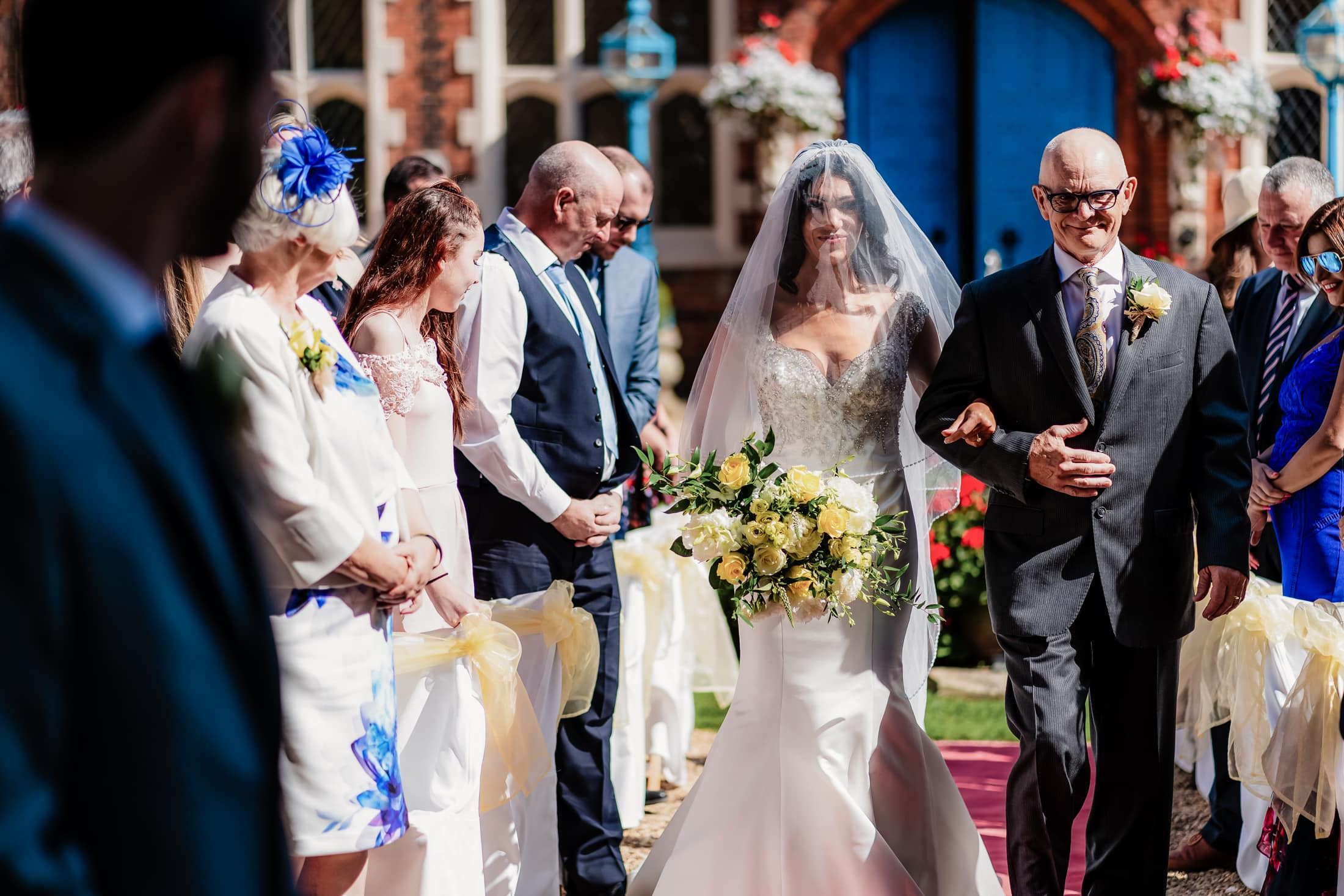 A courtyard wedding ceremony at gosfield hall