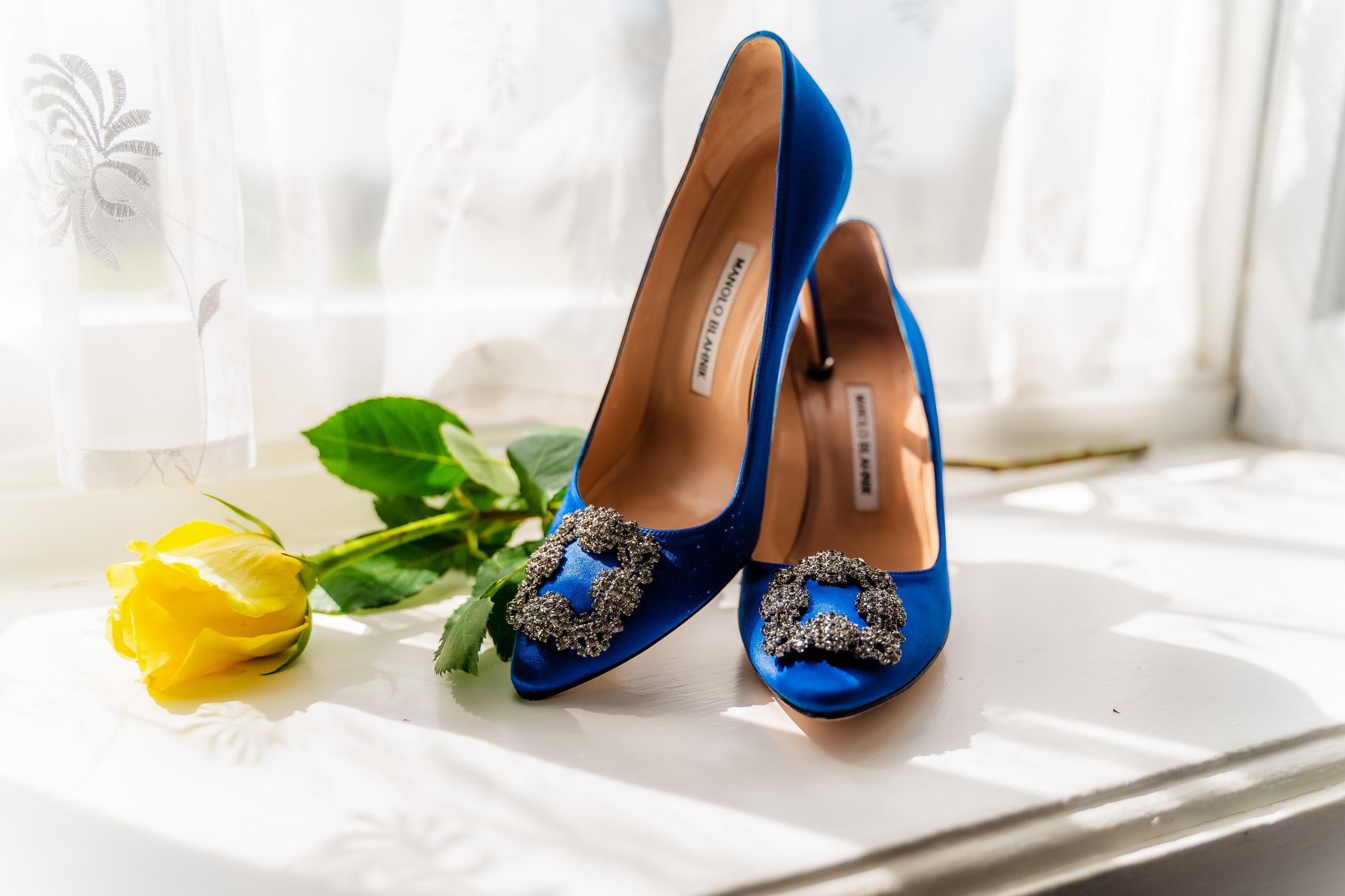 beautiful blue Wedding shoesessex summer wedding at gosfield hall