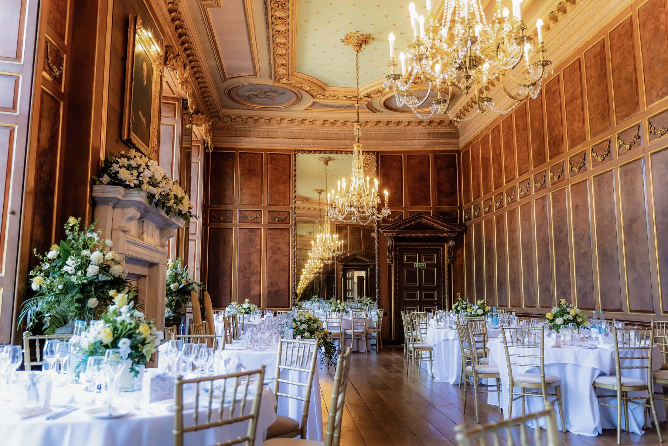 Gosfield hall wedding breakfast room - the Ball room