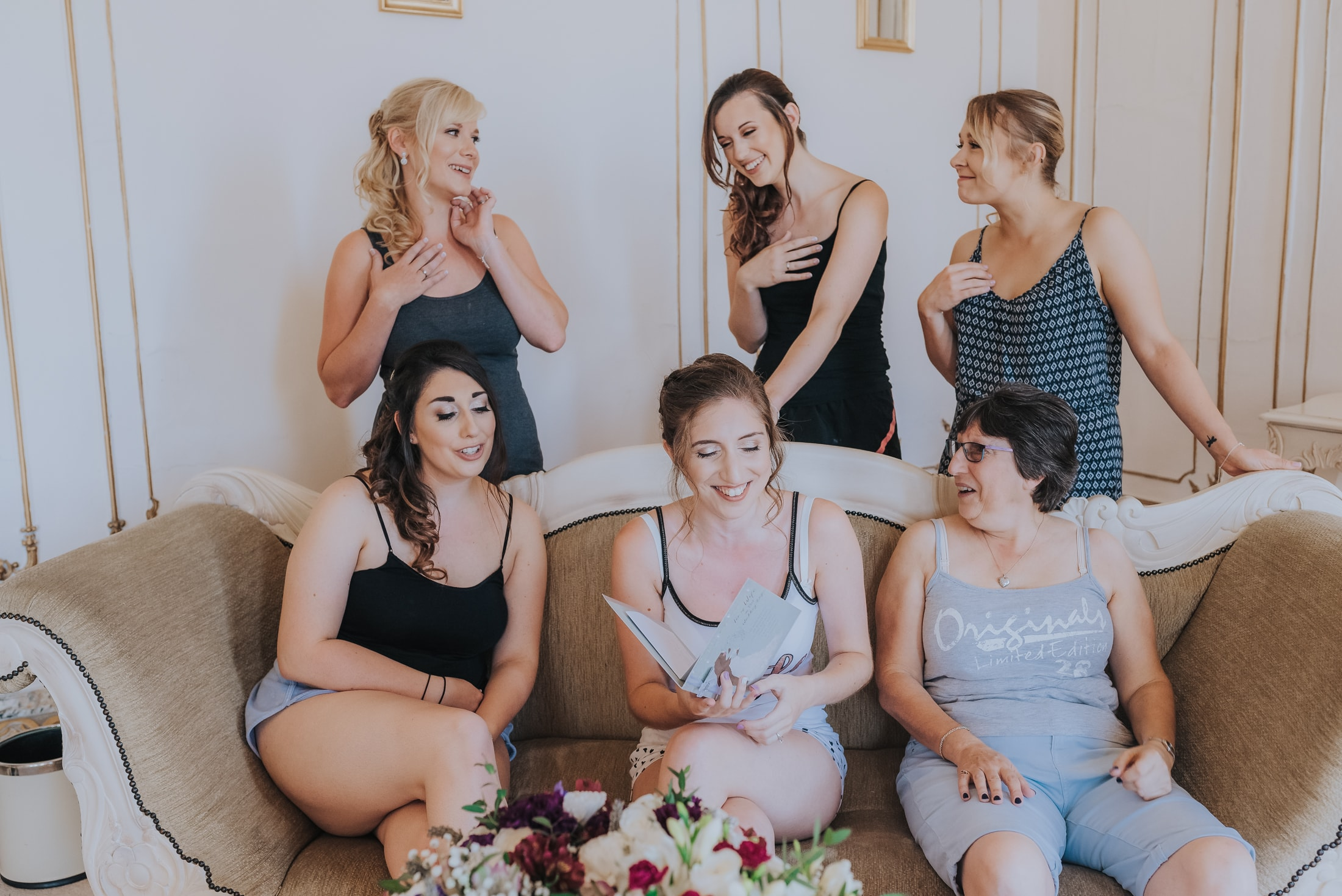 Bridal party laughing and having fun - Essex Country House Wedding